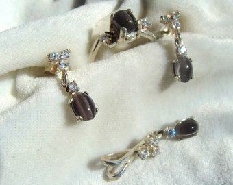 Natural Sillimanite Catseye Ring, Earrings and Pendant Set