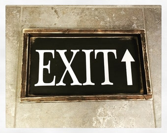 Exit Wood Sign