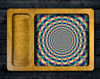 FREE SHIPPING Trippy V2 rolling tray printed with scratch and heat resistant ink - cannabis, potleaf, 420, weed