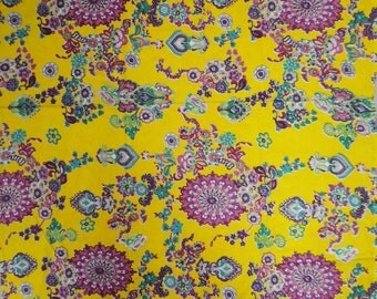 "Pure Cotton Indian Material Fabric With Floral Pattern Printed Yellow Fabric Sewing Crafting Material Fabric By The 1 Yard 42"" Wide ZBC5145"