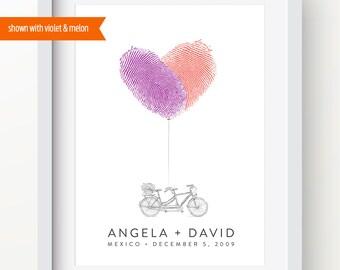 Fingerprint Wedding Guest Book - Tandem Bike - Unique, Personalized, Custom Guestbook