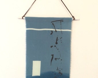 SALE! 25% OFF! Jackson Silk Screen Hand Printed Fabric Wallhanging Jackson Pollock Style Original Artwork Blue dip dye, Raw Edges Handmade