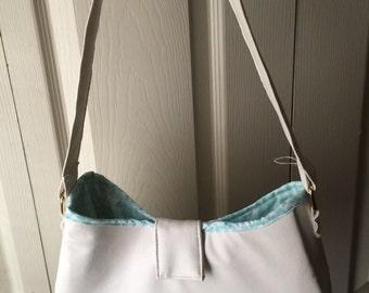 Small White and Aqua Handbag