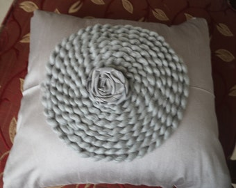 decorative cushion silk cushion with woolen and ribbon embroidery accent  pillow decorative pillow