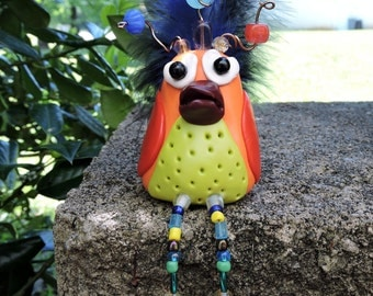 Bird Sculpture Whimsical Looney Bird Polymer Clay Figurine with Beads and Fluffy Feathers
