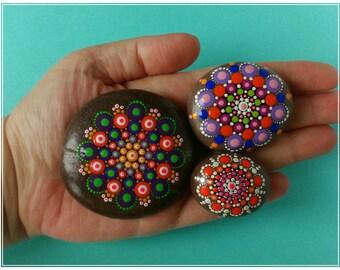 Dot Painted Mandala Stone Set of 3
