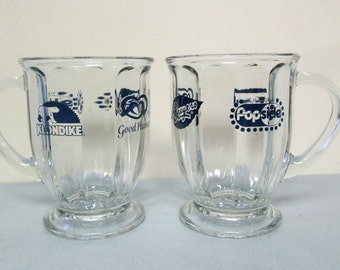 Breyers Good Humor Klondike Popsicle Logo Ice Cream Glass Cup Bowl Set of 2