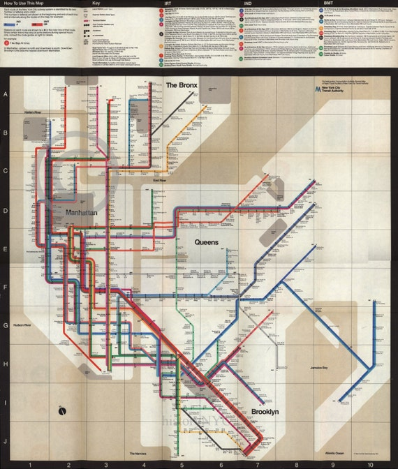 1972 Massimo Vignelli New York Subway Map Vintage By