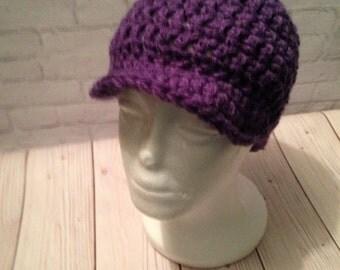 Crochet Newsboy Hat - Newsboy Cap - Baseball Hat - Newsboy Hat -News Boy Hat - Purple Hat - Birthday Gift - Warm Hat