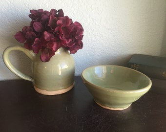 Small Green Pitcher and Small Bowl