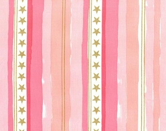 Magic Stars and Stripes Pink METALLIC by Sarah Jane for Michael Miller - Gold - Quilting Cotton Fabric - by the yard fat quarter half