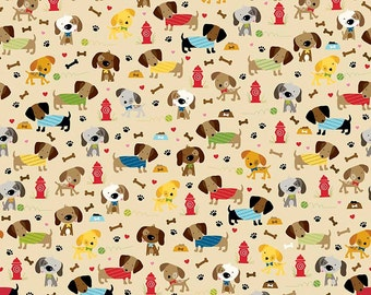 Rover Dog Park Tan by Riley Blake Designs - Puppy Brown - Jersey KNIT cotton lycra spandex stretch fabric - by the yard fat half quarter