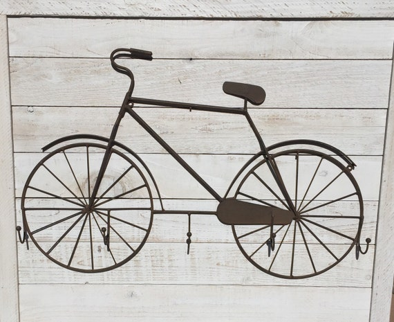 Metal Wall Decor Bicycle : Bicycle metal wall decor hooks coat rack hat beach