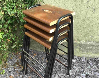 Stackable Metal Lab Stools with Pitch Pine Seats - Set of 4