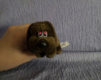 Vintage Dan Dee Dog plush Dachshund little Brown pink eyelids eye  1987 small Dandee