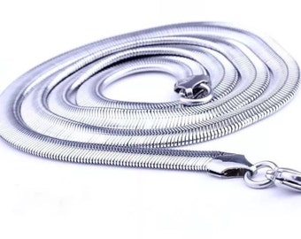 6 mm Stainless Steel Snake Chain 24""