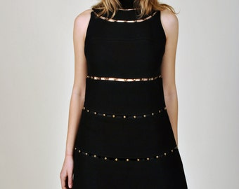1960's Space Age Louis Feraud Mod Masterpiece Dress Paris Jet Black 1970's