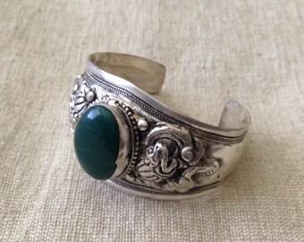 Dark Green Bloodstone Cuff Bracelet