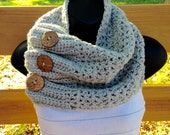 Gray button cowl, gray crochet cowl, gray scarf with buttons, infinity scarf, fall/winter accessory, women's gift