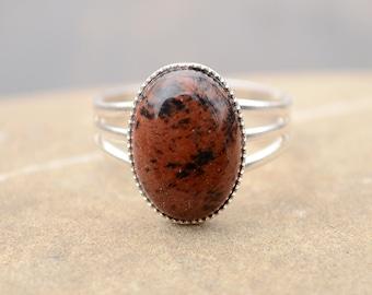 Obsidian ring, Silver obsidian ring, Obsidian silver ring, Mahogany obsidian ring, Obsidian cabochon ring, Ring obsidian silver.
