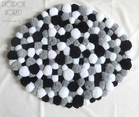 Pom Pom Rug Fluffy Carpet White Grey Black By Pompommyworld