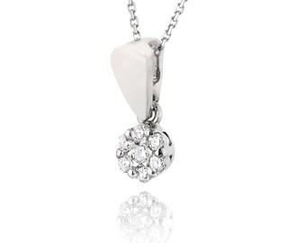 Pave Diamond Pendant, Flower Necklace, 14K White Gold Pendant Necklace, Diamond Flower Pendant, Gold Chain Necklace