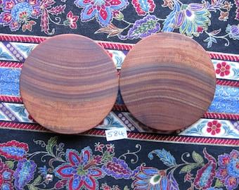 56mm Handmade Wooden Pau Santo 'Brazilian Blackheart' Ear Plugs Pair - Easy Care ( Overall size 57.1mm )
