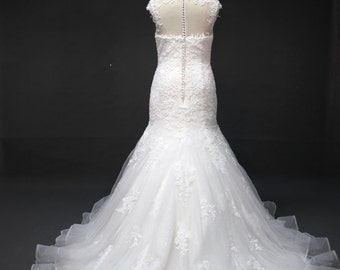 Trumpet Custom  Made Wedding Dress with Hand Sewn Lace