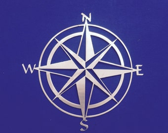 Compass Rose Metal Wall Art Ocean Nautical Marine Sea Life Beach House Home Deco