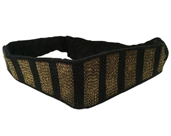 Elegant Vintage 1920's Black and Gold Glass Beaded Belt with Elasticated Band and Hook | Evening Dress