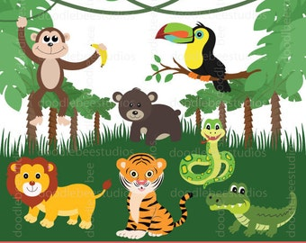 Jungle Animals Clipart, Jungle Friends Clip Art, Safari Animals, Animal Clipart, Animals Clipart, Jungle Clip Art, Safari Clipart