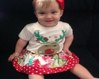 Sweet christmas skirt - little girls skirt - twirly skirt - baby girls skirt - puffy christmas skirt