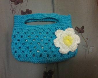 Handmade Crochet Purse with Flower
