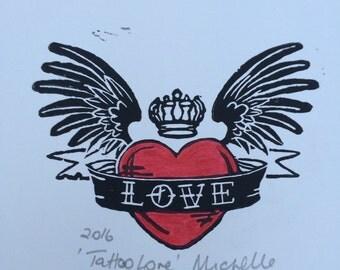 Tattoo Love Heart Linocut