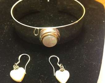 Sterling silver bracelet and mother of pearl earrings