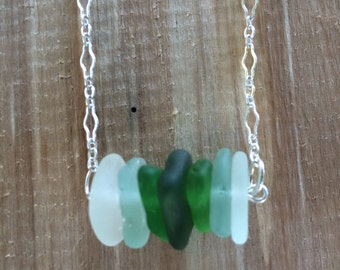 Sterling Silver Green Aqua White Ombré Genuine Surf Tumbled Sea Glass Necklace