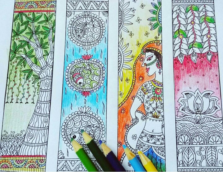 Madhubani Inspired Girl Flowers Nature Bookmarks DIY Printable Coloring Digital Download