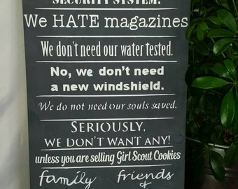 No soliciting wood wall hanging - wooden porch sign - custom wood sign - trespassing sign sign - porch sign - funny wall hanging -