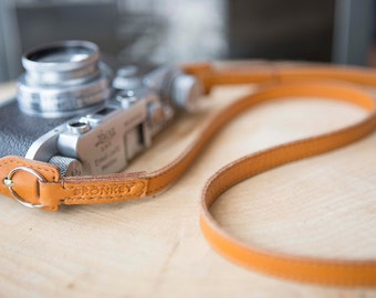 Bronkey  - Rome #1 - Tanned color - Leather Camera Strap: Mirrorless, Nikon, Leica, Fuji, 35mm, old cameras, DSLR, vintage & more.