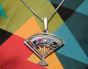 Gemstone set fan pendant