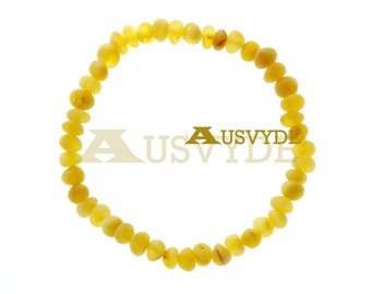 Butter color Raw Amber bracelet for Adults, Baltic Amber bracelet, Raw Amber Beads, Oval Beads bracelet, for summer, 5606