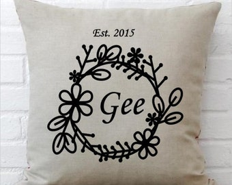 Floral Ring Inital / Name Pillow COVER