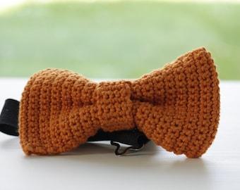 Crochet Bow Tie for men, women, handmade, orange/brown, wedding tie like knitted bow tie - Medium size