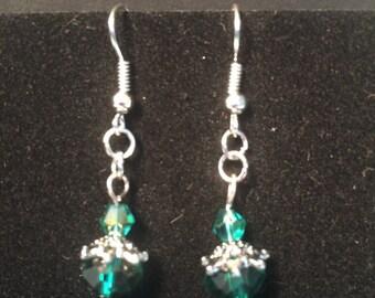 Green crystal bead earrings