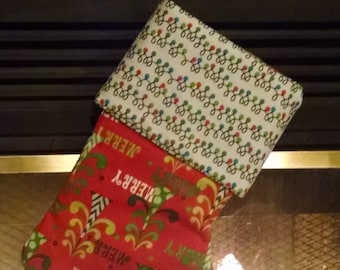 Merry Christmas and Lights Stocking