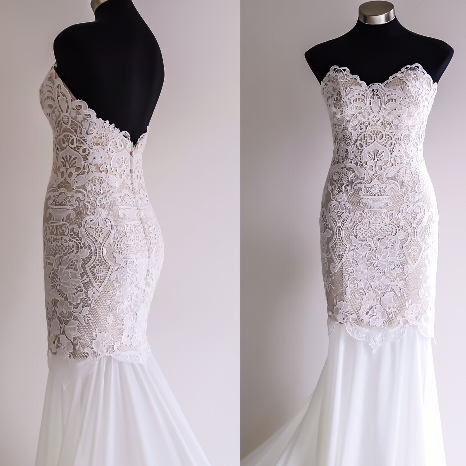 Fit and flare wedding dress lace wedding by silkbrides on etsy for Lace fit flare wedding dress