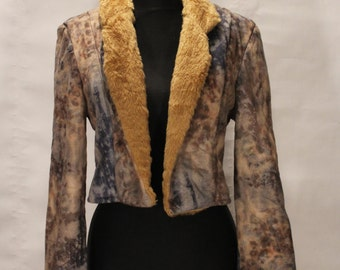 Vintage Faux Fur Jacket, Winter Jacket, Womens Jacket, Suede Jacket, Cropped Waist Length Jacket. Vintage Fur Jacket, Retro Fur Coat