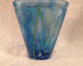 Art Glass Fan Vase Saks Adam Aaronson Signed