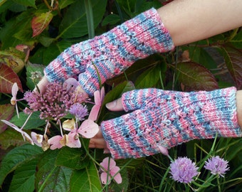 Fingerless Gloves Blue and Pink