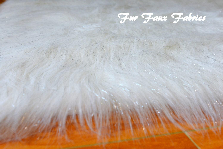 Premium quality white sparkling tinsel sparkle fur faux fabric